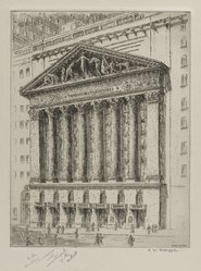 F. W. W. Hoppe (American). The New York Stock Exchange. Etching, Sheet: 14 7/8 x 11 in. (37.8 x 27.9 cm). Brooklyn Museum, Gift of the artist, 1996.247. © artist or artist's estate