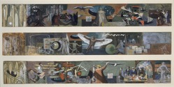 James Brooks (American, 1906-1992). Three Studies for Flight Mural at Marine Air Terminal, LaGuardia Airport, 1938. Gouache on paper mounted on board, each panel: 3 x 21 3/4in. (7.6 x 55.2cm). Brooklyn Museum, Gift of Charlotte Park Brooks in memory of her husband, James David Brooks, 1996.42.3. © artist or artist's estate