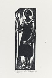 Elizabeth Catlett (American, 1915-2012). In Other Folks Homes, 1946. Linocut on Arches cream wove paper, Image: 6 5/16 x 2 1/16 in. (16.1 x 5.2 cm). Brooklyn Museum, Emily Winthrop Miles Fund, 1996.47.1. © artist or artist's estate