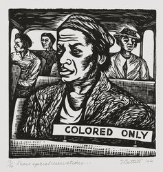 Elizabeth Catlett (American, 1915-2012). I Have Special Reservations, 1946. Linocut on cream wove paper, Sheet: 15 1/8 x 11 3/8 in. (38.4 x 28.9 cm). Brooklyn Museum, Emily Winthrop Miles Fund, 1996.47.2. © artist or artist's estate