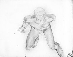 James Brooks (American, 1906-1992). [Untitled] (Nude Male from Above), n.d. Graphite on paper, sheet: 17 13/16 x 22 7/8 in. (45.2 x 58.1 cm). Brooklyn Museum, Gift of Charlotte Park Brooks in memory of her husband, James David Brooks, 1996.54.1. © artist or artist's estate