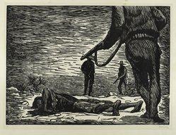 Leopoldo Méndez (Mexican, 1902-1969). The Earth Too Drinks Thy Blood (Tambien la tierra bebe tu sangre), 1948. Linocut on paper, sheet: 15 15/16 x 20 1/16 in. (40.4 x 50.9 cm). Brooklyn Museum, Emily Winthrop Miles Fund, 1997.125.3. © artist or artist's estate