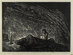 Leopoldo Méndez (Mexican, 1902-1969). Solitude (Soledad), 1948. Linocut on paper, sheet: 15 15/16 x 20 in. (40.4 x 50.8 cm). Brooklyn Museum, Emily Winthrop Miles Fund, 1997.125.4. © artist or artist's estate