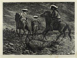 Leopoldo Méndez (Mexican, 1902-1969). Beasts! (Bestas!), 1948. Linocut on paper, 11 15/16 x 16 1/4 in. (30.4 x 41.3 cm). Brooklyn Museum, Emily Winthrop Miles Fund, 1997.125.5. © artist or artist's estate