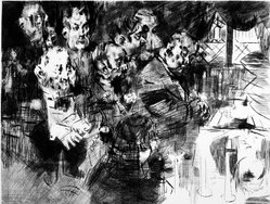 Jack Levine (American, 1915-2010). The Gangster's Funeral, 1965. Drypoint and engraving on Arches paper, Plate: 19 1/4 x 25 3/8 in. (48.9 x 64.5 cm). Brooklyn Museum, Gift of Peter Blum, 1997.194.12. © artist or artist's estate
