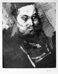 Jack Levine (American, 1915-2010). The Bearded Man, 1962. Etching, drypoint, and aquatint on Arches paper, Plate: 9 3/4 x 7 7/8 in. (24.8 x 20 cm). Brooklyn Museum, Gift of Peter Blum, 1997.194.1. © artist or artist's estate