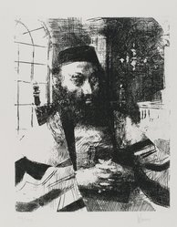 Jack Levine (American, 1915-2010). Ashkenazi, 1963. Etching on BFK Rives paper, Plate: 9 3/4 x 7 3/4 in. (24.8 x 19.7 cm). Brooklyn Museum, Gift of Peter Blum, 1997.194.4. © artist or artist's estate