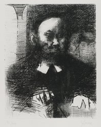 "Jack Levine (American, 1915-2010). Rabbi in His Study (also called ""Ashkenazi II""), 1964. Etching and drypoint on BFK Rives paper, Plate: 9 5/8 x 7 7/8 in. (24.4 x 20 cm). Brooklyn Museum, Gift of Peter Blum, 1997.194.5. © artist or artist's estate"