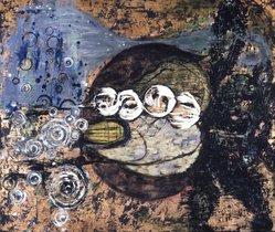 Janis Provisor. El Jebel, 1987. Oil, metallic powders and metal leaf on canvas, 92 x 78in. (233.7 x 198.1cm). Brooklyn Museum, Gift of Brad Davis, 1997.34. © artist or artist's estate