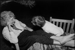 Rosalie Winard. Jessy and Clara Park Conversing Outside at Night, from the Born Electrical Series, 1995. Gelatin silver photograph, image: 7 7/8 x 11 1/2 in. (19.9 x 29.3 cm). Brooklyn Museum, Gift of Mary McClean, 1997.98.3. © artist or artist's estate