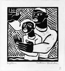 Katherine Blackshear (American, 1897-1988). Baptism, 1936. Woodcut on medium cream wove paper, Image: 5 3/4 x 5 7/16 in. (14.9 x 13.8 cm). Brooklyn Museum, Emily Winthrop Miles Fund, 1997.9. © artist or artist's estate