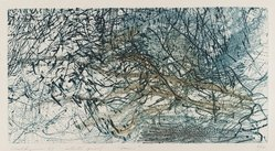 Bernard Childs (American, 1910-1985). Rain, 1957. Power tool engraving (copper plate), Sheet: 7 3/16 x 12 13/16 in. (18.2 x 32.5 cm). Brooklyn Museum, Gift of Dr. Joseph Mandelbaum, 1998.5. © artist or artist's estate