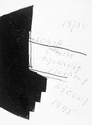 Hubert Kiecol. Schiff Ohne Aquavit, 1995. Etching, Image: 11 x 8 1/8 in.  (27.9 x 20.7 cm). Brooklyn Museum, Gift of Feature Inc., 1999.34.13. © artist or artist's estate