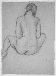Aristide Maillol (French, 1861-1944). Seated Dina with Braids from Rear, 1937. Sanguine, sight: 12 5/16 x 9 1/16 in.  (31.3 x 23.0 cm). Brooklyn Museum, Gift of Annie Larralde in memory of Carlotta Simons, 1999.63. © artist or artist's estate