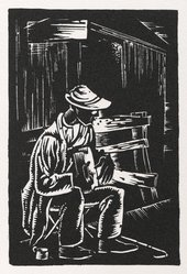 Hale Woodruff (American, 1900-1980). Blind Musician, 1935. Woodcut on thick white paper, Sheet: 19 5/16 x 15 1/16 in. (49.1 x 38.3 cm). Brooklyn Museum, Gift of E. Thomas Williams, Jr. and Auldlyn Higgins Williams, 1999.83. © artist or artist's estate