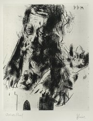 Jack Levine (American, 1915-2010). Hillel, 1963. Etching, Image: 9 3/4 x 7 15/16 in. (24.8 x 20.2 cm). Brooklyn Museum, Gift of the artist, 2000.31.3. © artist or artist's estate