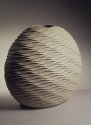 Sakiyama Takayuki (Japanese, born 1958). Rippling Wave (Hamon), 2000. Ceramic, stoneware, sand-infused glaze, 22 5/8 x 21 3/16 in.  (57.5 x 53.8 cm). Brooklyn Museum, Purchased with funds given by the Jacques and Emy Cohenca Foundation, Inc., 2000.96. © artist or artist's estate