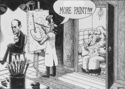 """Sean Delonas (American). """"More Paint,"""" September 30, 1999. Pen and Ink, Sheet: 7 3/8 x 10 1/4 in. (18.7 x 26 cm). Brooklyn Museum, Mary Smith Dorward Fund, 2001.99.1. © artist or artist's estate"""