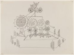 Frederick J Kiesler (American, born Vienna, 1890-1965). Setting for Santa Claus (of e.e. cummings), 1947. Ink on paper, Sheet: 10 3/16 x 13 7/8 in. (25.9 x 35.2 cm). Brooklyn Museum, Bequest of Lillian Kiesler, 2002.51. © artist or artist's estate