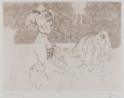 Jack Levine (American, 1915-2010). Girls at Tunbridge Alley #1, 1967. Soft-ground etching, Image: 8 3/4 x 11 3/4 in. (22.2 x 29.8 cm). Brooklyn Museum, Gift of the artist, 2002.53.8. © artist or artist's estate