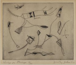 Dorothy Dehner (American, 1908-1994). Things on Strings, 1953. Engraving, 7 1/16 x 8 13/16 in. (17.9 x 22.4 cm). Brooklyn Museum, Gift of Celia Mitchell, 2002.56.2. © artist or artist's estate