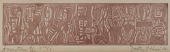 Dorothy Dehner (American, 1908-1994). Ancestors, 1954. Relief print in red ink, 2 x 7 7/8 in. (5.1 x 20 cm). Brooklyn Museum, Gift of Celia Mitchell, 2002.56.4. © artist or artist's estate