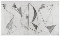 Dorothy Dehner (American, 1908-1994). Sails, 1955. Engraving and roulette, Image: 3 x 4 7/8 in. (7.6 x 12.4 cm). Brooklyn Museum, Gift of Celia Mitchell, 2002.56.6. © artist or artist's estate