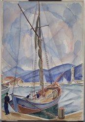 Bertram Hartman (American, 1882-1960). St. Tropez, 1924. Watercolor with graphite underdrawing on paper, 22 1/16 x 15 1/4 in. (56 x 38.7 cm). Brooklyn Museum, Bequest of Richard J. Kempe, 2003.27.1. © artist or artist's estate