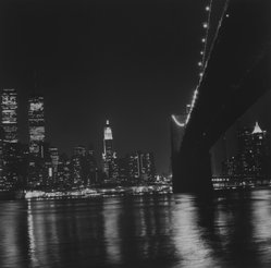 Ileane Bernstein Naprstek (American, born 1956). Brooklyn Bridge and Manhattan Skyline, N.Y.C. from the series Landmarks, 2001. Gelatin silver photograph, Image: 15 x 15 in. (38.1 x 38.1 cm). Brooklyn Museum, Gift of the artist, 2003.63.6. © artist or artist's estate