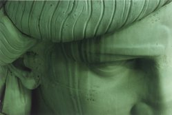 James Rudnick (American, born 1955). Detail of a Face of the Statue of Liberty, 1985, printed 2003. Chromogenic photograph, Sheet: 11 x 14 in. (27.9 x 35.6 cm). Brooklyn Museum, Gift of the artist, 2003.77.1. © James Rudnick