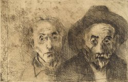 Raphael Soyer (American, born Russia, 1899-1987). Self Portraits Both Young/Old, 1978. Etching, Sheet: 11 x 15 in. (27.9 x 38.1 cm). Brooklyn Museum, Gift of Barbara Sorini in memory of Emiliano Sorini, 2003.78.2. © Estate of Raphael Soyer