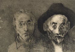 Raphael Soyer (American, born Russia, 1899-1987). Self Portraits Both Young/Old, 1978. Etching, Sheet: 11 x 15 in. (27.9 x 38.1 cm). Brooklyn Museum, Gift of Barbara Sorini in memory of Emiliano Sorini, 2003.78.4. © Estate of Raphael Soyer