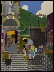 Romare Bearden (American, 1911-1988). Southern Courtyard, 1976. Collage on paper: photochemically printed paper cut outs, colored paper, paint, graphite, and fabric, 48 x 36 in. (121.9 x 91.4 cm). Brooklyn Museum, Gift of The Beatrice and Samuel A. Seaver Foundation, 2004.30.1. © artist or artist's estate