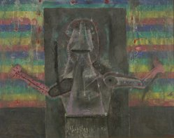 Rufino Tamayo (Mexican, 1899-1991). Hombre Actual, 1969. Oil on canvas, 39 x 47 in. (99.1 x 119.4 cm). Brooklyn Museum, Gift of The Beatrice and Samuel A. Seaver Foundation, 2004.30.23. © D.R. Rufino Tamayo / Herederos / México. Fundación Olga y Rufino Tamayo, A.C.