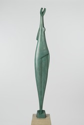 Alexander Archipenko (American, born Ukraine, 1887-1964). The Ray, 1920s. Bronze with green patina, Total height: 74 in., 215 lb. (188 cm, 97.52kg). Brooklyn Museum, Gift of The Beatrice and Samuel A. Seaver Foundation, 2004.37.1a-b. © artist or artist's estate