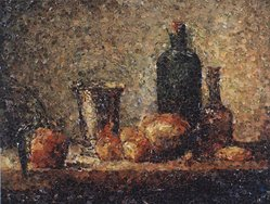 Vik Muniz (born Brazil, 1961). Seville Orange, Silver Goblet, Apples, Pear and Two Bottles, after Chardin (Pictures of Magazines), 2004. Chromogenic photograph mounted on aluminium, 40 x 51 1/2 in. (101.6 x 130.8 cm). Brooklyn Museum, Gift of the Prints and Photographs Council, 2004.39. © artist or artist's estate