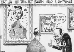 "Sean Delonas (American). Rudy and the ""Dung Art"" Museum Reach a Compromise, March 29, 2000. Ink, Sheet: 7 1/2 x 10 7/16 in. (19.1 x 26.5 cm). Brooklyn Museum, Gift of the artist, 2004.44.1. © artist or artist's estate"