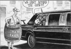 Sean Delonas (American). We Can't Afford Tax Cuts, January 9, 2003. Ink, Sheet: 6 13/16 x 9 5/8 in. (17.3 x 24.4 cm). Brooklyn Museum, Gift of the artist, 2004.44.4. © artist or artist's estate