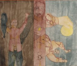 Francesco Clemente (Italian, born 1952). Conversion to her, 1986. Etching and aquatint, 51 x 62 in. (129.5 x 157.5 cm). Brooklyn Museum, Gift of Edward and Phyllis Kwalwasser, 2004.45.1. © artist or artist's estate