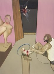 Francis Bacon (British, 1909-1992). Oedipus and the Sphinx, 1984. Lithograph, Sheet: 50 1/2 x 35 1/2 in. (128.3 x 90.2 cm). Brooklyn Museum, Gift of The Beatrice and Samuel A. Seaver Foundation, 2004.48.1. © artist or artist's estate