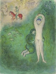 Marc Chagall (French, born Russia, 1887-1985). Daphnis and Grathan from Daphnis and Chloe, 1961. Lithograph, 16 1/2 x 12 1/2 in. Brooklyn Museum, Gift of The Beatrice and Samuel A. Seaver Foundation, 2004.48.2. © artist or artist's estate