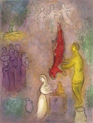 Marc Chagall (French, born Russia, 1887-1985). Sacrifices Made to the Nymphs from Daphnis and Chloe, 1961. Lithograph, 16 1/2 x 12 1/2 in. Brooklyn Museum, Gift of The Beatrice and Samuel A. Seaver Foundation, 2004.48.4. © artist or artist's estate