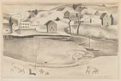 Marguerite Thompson Zorach (American, 1887-1968). Rural Scene with Pond and Sheep, ca. 1920-1930. Lithograph on paper, Sheet: 16 x 20 3/16 in. (40.6 x 51.3 cm). Brooklyn Museum, Bequest of George Turitz, 2004.72.1. © The Zorach Collection, LLC