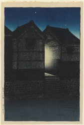 Kawase Hasui (Japanese, 1883-1957). Shinkawa at Night. Woodblock print, 15 3/8 x 10 5/16 in. (39 x 26.2 cm). Brooklyn Museum, Gift of Dr. Eleanor Z. Wallace in memory of her husband, Dr. Stanley L. Wallace, 2004.87.1. © artist or artist's estate