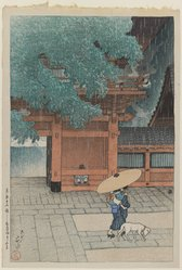 Kawase Hasui (Japanese, 1883-1957). May Rain at Sanno Temple. Woodblock print, 15 1/4 x 10 3/8 in. (38.8 x 26.3 cm). Brooklyn Museum, Gift of Dr. Eleanor Z. Wallace in memory of her husband, Dr. Stanley L. Wallace, 2004.87.2. © artist or artist's estate