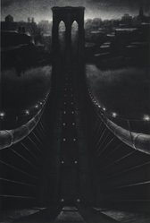 Richard C. Hardin (American, born 1956). Brooklyn Bridge, 1986. Mezzotint, Sheet: 35 x 23 3/4 in. (88.9 x 60.3 cm). Brooklyn Museum, Gift of Constance L. and Henry Christensen III, 2005.83. © artist or artist's estate