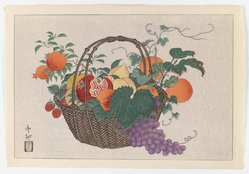 Taisu (Japanese, active 1930-1950). Still Life with Basket of Fruit, ca. 1930. Print, Sheet: 10 5/8 x 15 1/2 in. (27 x 39.4 cm). Brooklyn Museum, Gift of the Estate of Dr. Eleanor Z. Wallace, 2007.32.110. © artist or artist's estate