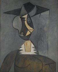 Pablo Picasso (Spanish, 1881-1973). Woman in Gray (Femme en gris), 1942. Oil on panel, 39 1/4 x 31 7/8 in. (99.7 x 81 cm). Brooklyn Museum, Gift of the Alex Hillman Family Foundation in memory and in honor of Rita K. Hillman, 2008.43. © artist or artist's estate