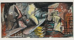 Norman Lewis (American, 1909-1979). Untitled, 1944. Graphite, ink, and gouache on paper , Sight: 11 1/2 x 23 in. (29.2 x 58.4 cm). Brooklyn Museum, Gift of Ian S. Fuller, 2010.81. © artist or artist's estate