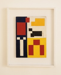 Leon Polk Smith (American, 1906-1996). OK Territory, 1943. Oil on canvas, 16 x 12in. (40.6 x 30.5cm). Brooklyn Museum, Bequest of Leon Polk Smith, 2011.12.1. © artist or artist's estate